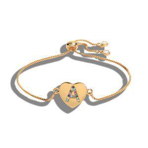 "Gold Heart Letter ""A"" Initial Name CZ Bracelet"